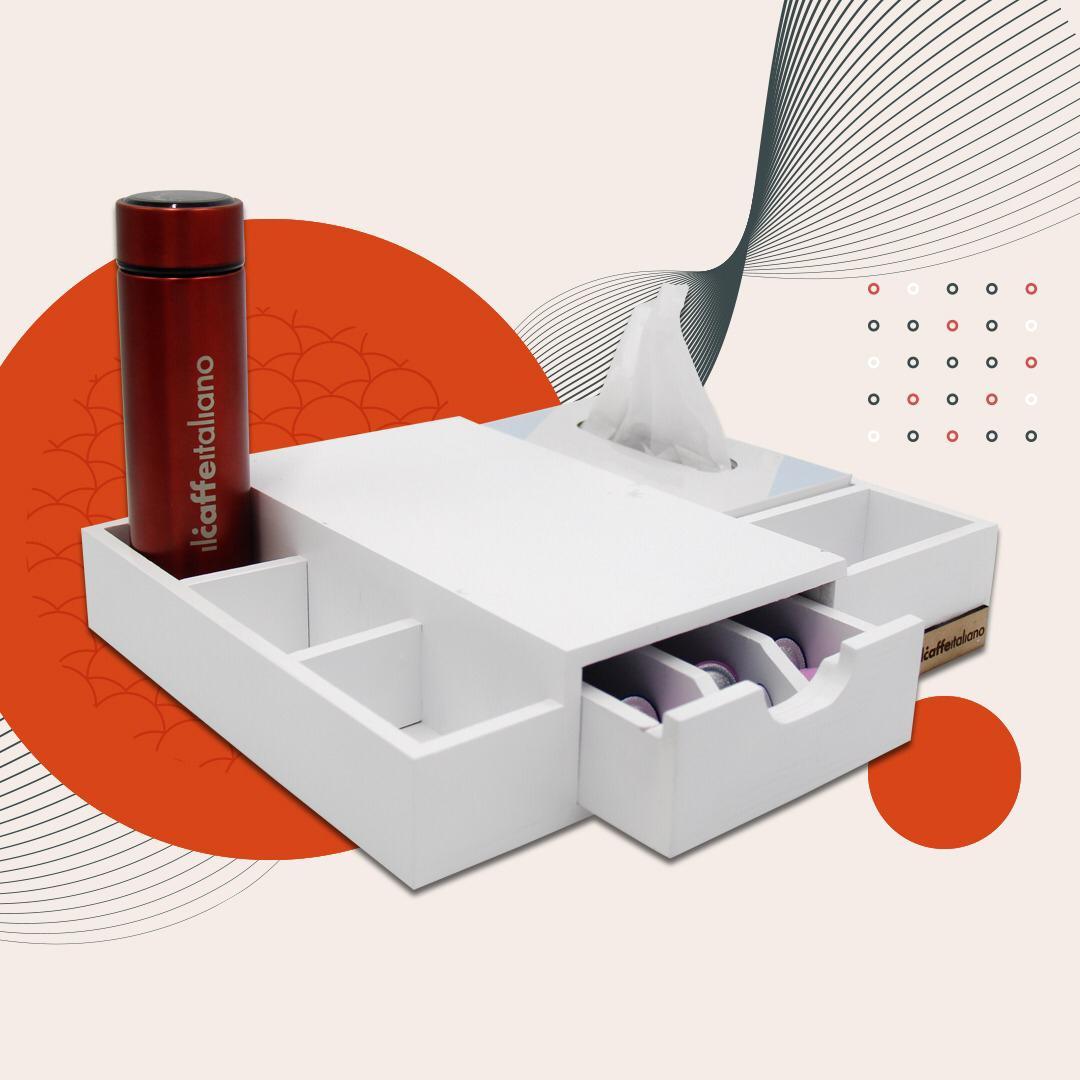 Espresso Box Stand + Kleenex White